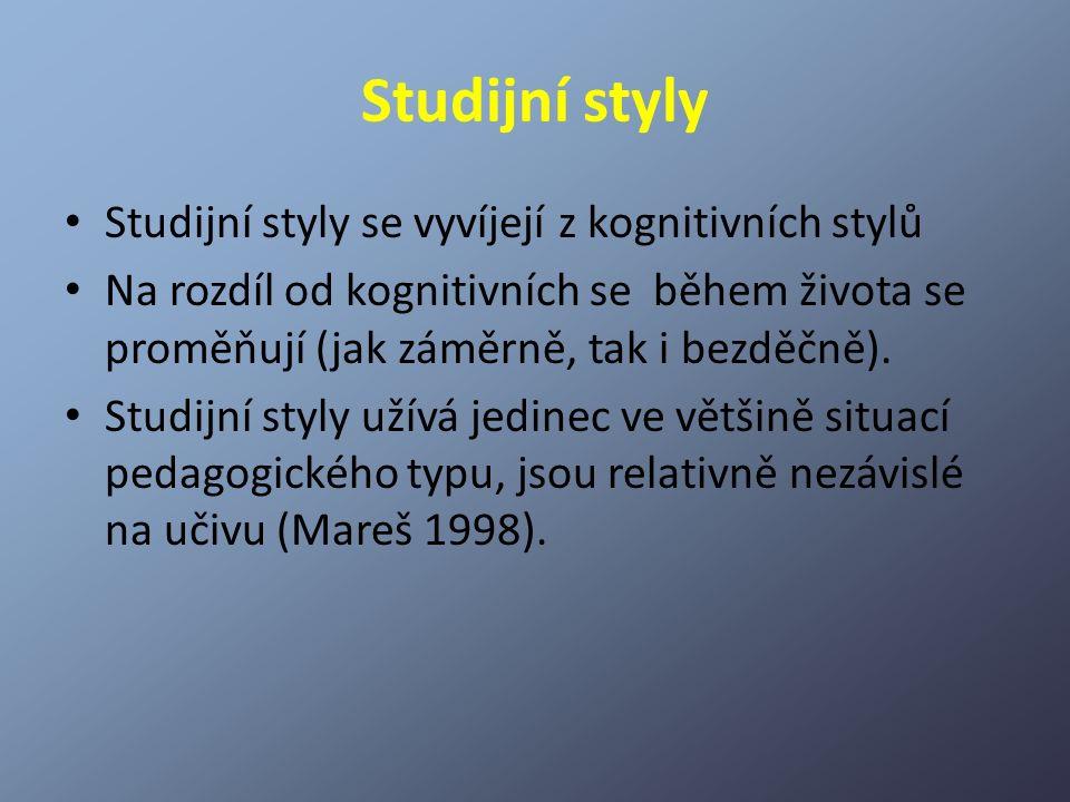 Studijní styly Studijní styly se vyvíjejí z kognitivních stylů Na rozdíl od kognitivních se během života se proměňují (jak záměrně, tak i bezděčně). S