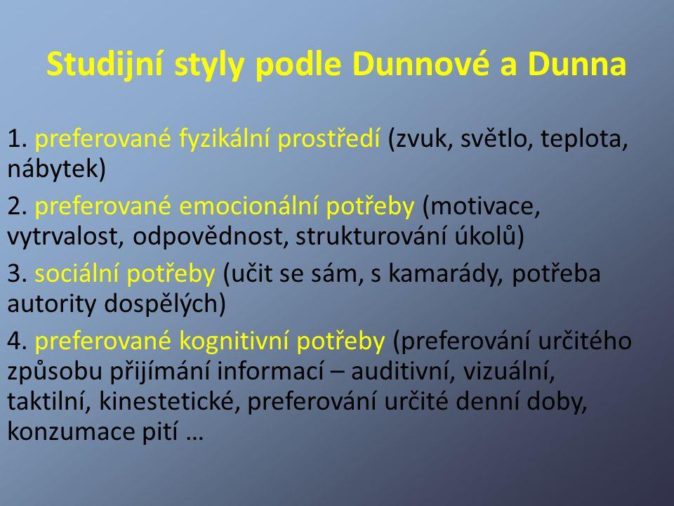 Studijní styly podle Dunnové a Dunna 1. preferované fyzikální prostředí (zvuk, světlo, teplota, nábytek) 2. preferované emocionální potřeby (motivace,