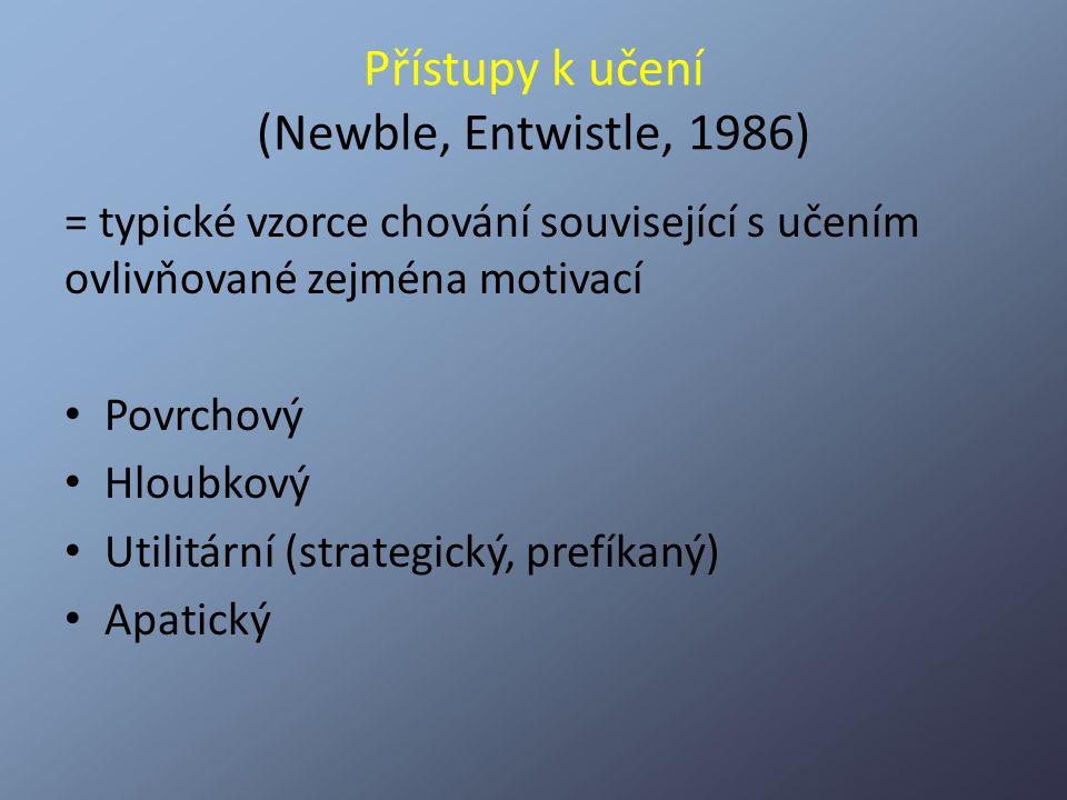Přístupy k učení (Newble, Entwistle, 1986) = typické vzorce chování související s učením ovlivňované zejména motivací Povrchový Hloubkový Utilitární (
