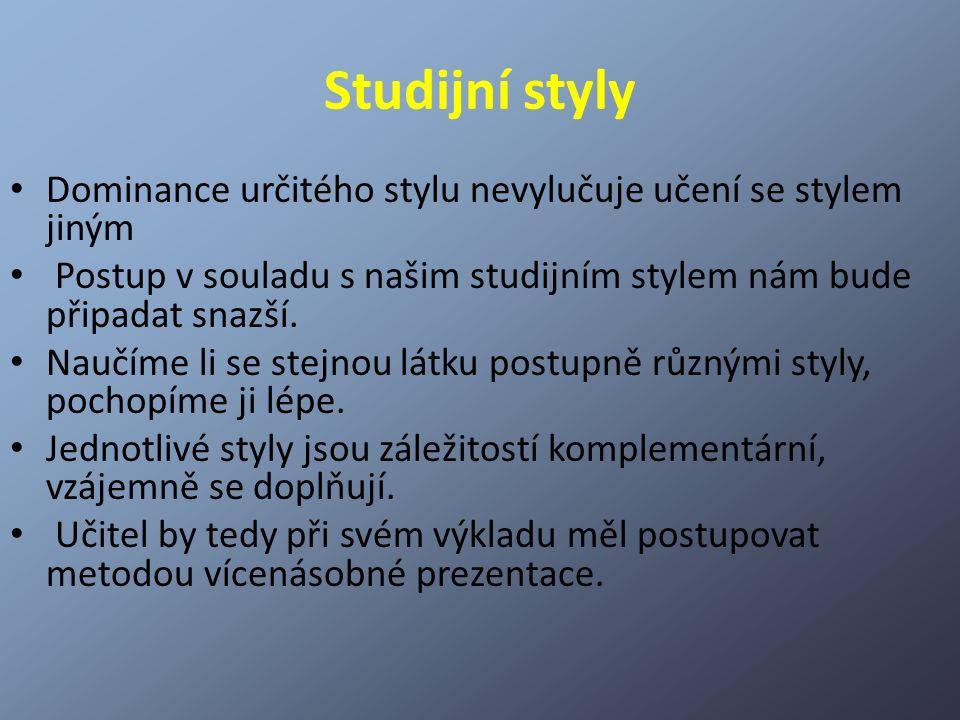 Studijní styly Dominance určitého stylu nevylučuje učení se stylem jiným Postup v souladu s našim studijním stylem nám bude připadat snazší. Naučíme l