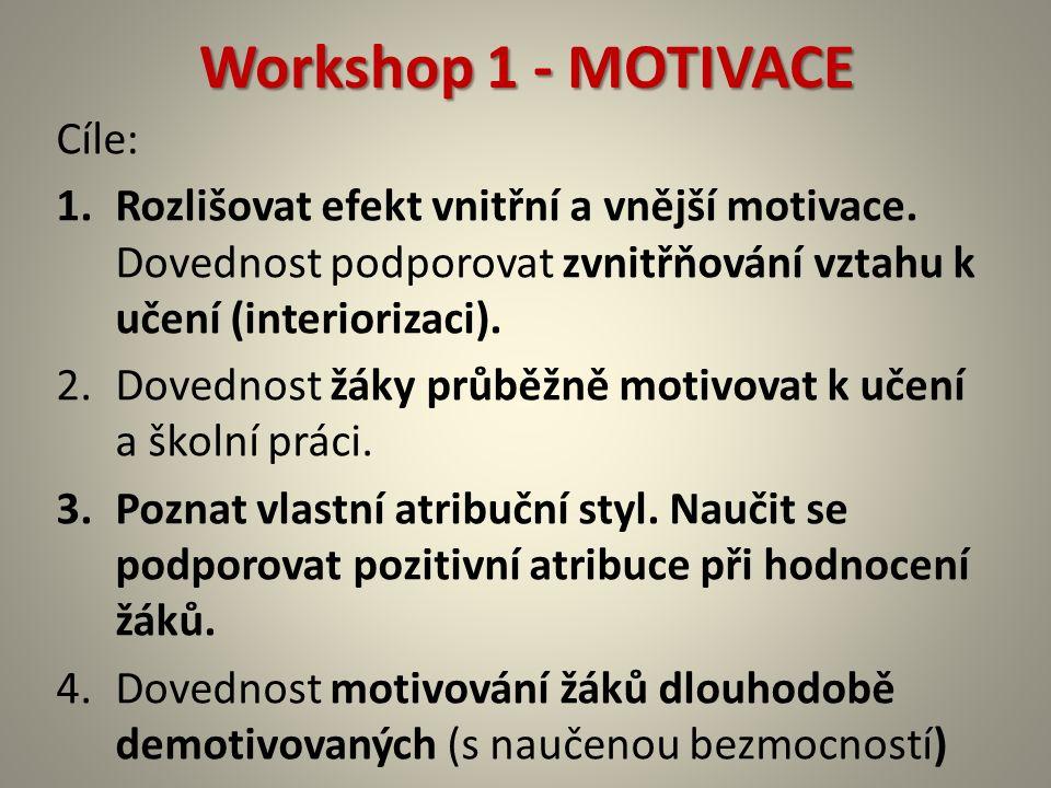 Workshop 1 - MOTIVACE Cíle: 1.Rozlišovat efekt vnitřní a vnější motivace. Dovednost podporovat zvnitřňování vztahu k učení (interiorizaci). 2.Dovednos