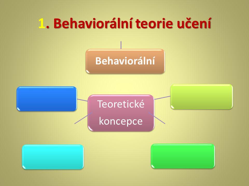 . Behaviorální teorie učení 1. Behaviorální teorie učení Teoretické koncepce Teoretické koncepce Behaviorální