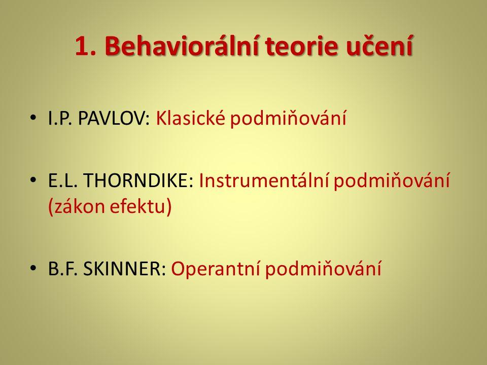 Behaviorální teorie učení 1. Behaviorální teorie učení I.P. PAVLOV: Klasické podmiňování E.L. THORNDIKE: Instrumentální podmiňování (zákon efektu) B.F