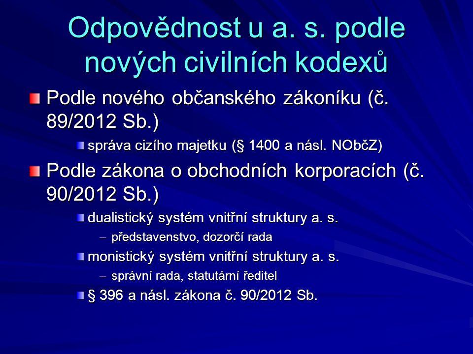 Odpovědnost u a. s. podle nových civilních kodexů Podle nového občanského zákoníku (č. 89/2012 Sb.) správa cizího majetku (§ 1400 a násl. NObčZ) Podle