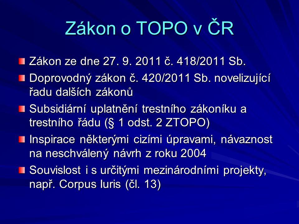 Zákon o TOPO v ČR Zákon ze dne 27. 9. 2011 č. 418/2011 Sb. Doprovodný zákon č. 420/2011 Sb. novelizující řadu dalších zákonů Subsidiární uplatnění tre