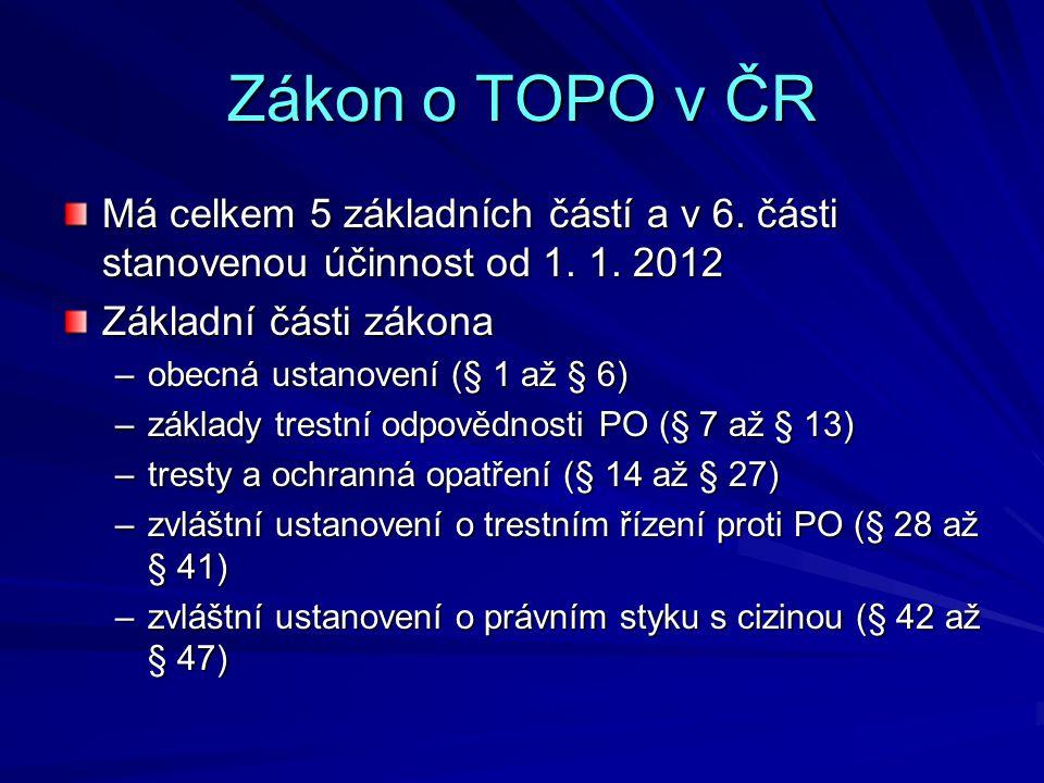 Zákon o TOPO v ČR Má celkem 5 základních částí a v 6. části stanovenou účinnost od 1. 1. 2012 Základní části zákona –obecná ustanovení (§ 1 až § 6) –z