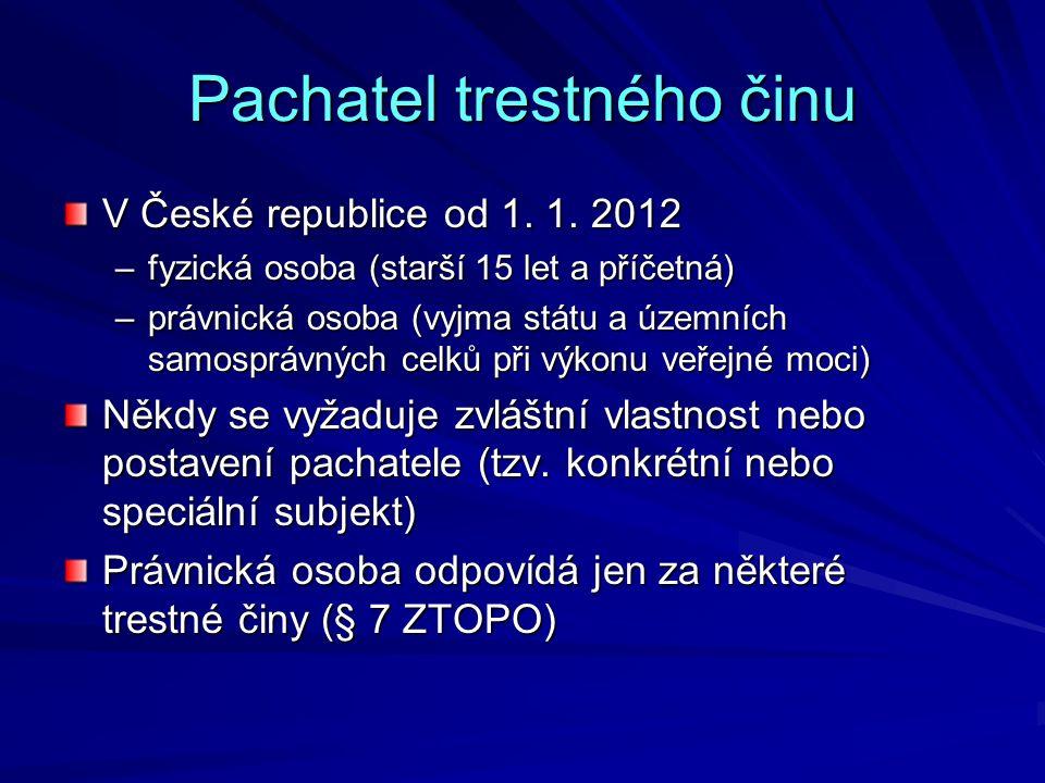 Pachatel trestného činu V České republice od 1. 1. 2012 –fyzická osoba (starší 15 let a příčetná) –právnická osoba (vyjma státu a územních samosprávný