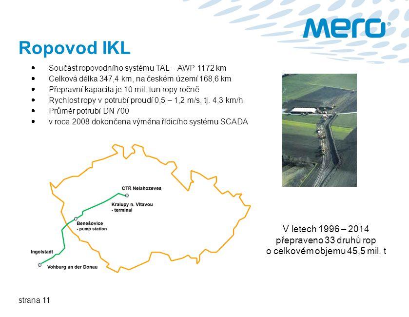 strana 11 Ropovod IKL  Součást ropovodního systému TAL - AWP 1172 km  Celková délka 347,4 km, na českém území 168,6 km  Přepravní kapacita je 10 mil.