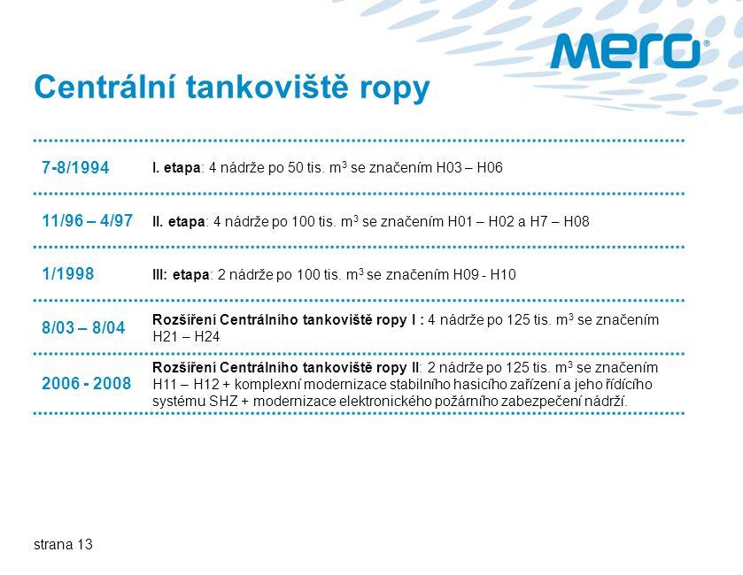 strana 13 Centrální tankoviště ropy 7-8/1994 I. etapa: 4 nádrže po 50 tis.