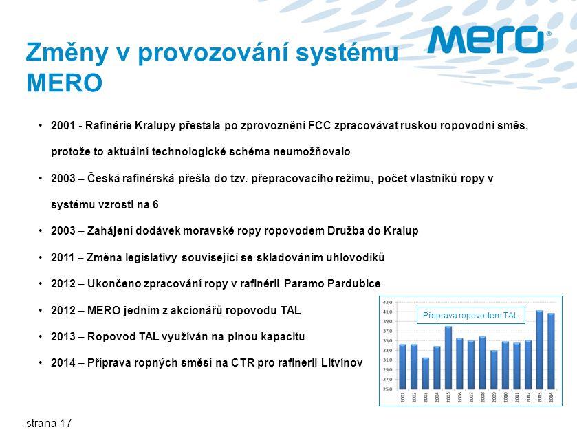 strana 17 Změny v provozování systému MERO 2001 - Rafinérie Kralupy přestala po zprovoznění FCC zpracovávat ruskou ropovodní směs, protože to aktuální technologické schéma neumožňovalo 2003 – Česká rafinérská přešla do tzv.