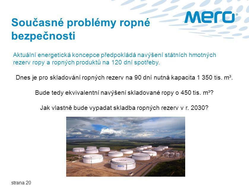 strana 20 Současné problémy ropné bezpečnosti Aktuální energetická koncepce předpokládá navýšení státních hmotných rezerv ropy a ropných produktů na 120 dní spotřeby.