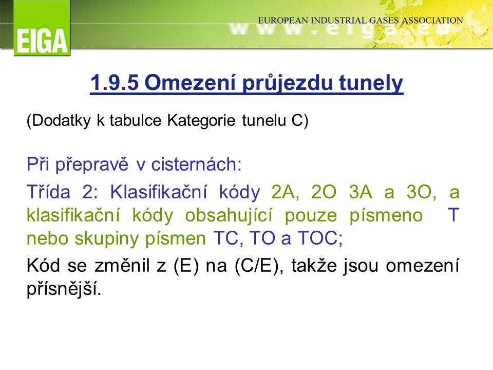 (Dodatky k tabulce Kategorie tunelu C) Při přepravě v cisternách: Třída 2: Klasifikační kódy 2A, 2O 3A a 3O, a klasifikační kódy obsahující pouze písmeno T nebo skupiny písmen TC, TO a TOC; Kód se změnil z (E) na (C/E), takže jsou omezení přísnější.