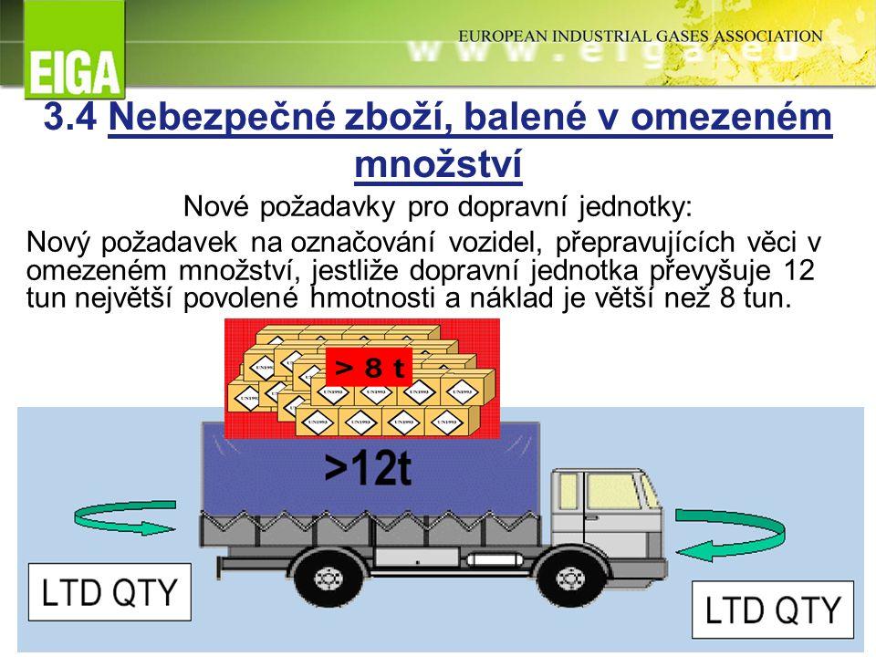 3.4 Nebezpečné zboží, balené v omezeném množství Nové požadavky pro dopravní jednotky: Nový požadavek na označování vozidel, přepravujících věci v omezeném množství, jestliže dopravní jednotka převyšuje 12 tun největší povolené hmotnosti a náklad je větší než 8 tun.