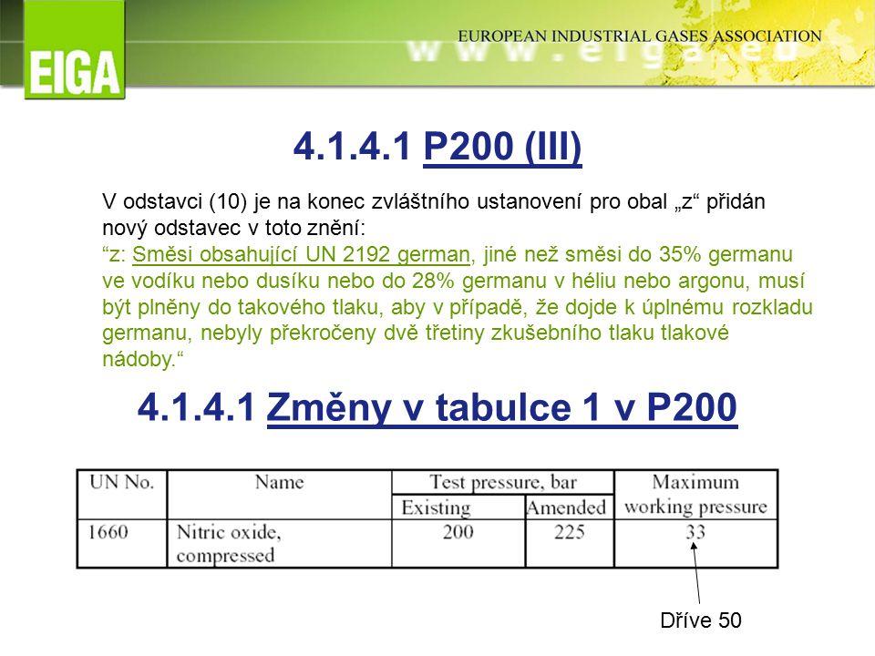 """4.1.4.1 Změny v tabulce 1 v P200 Dříve 50 V odstavci (10) je na konec zvláštního ustanovení pro obal """"z přidán nový odstavec v toto znění: z: Směsi obsahující UN 2192 german, jiné než směsi do 35% germanu ve vodíku nebo dusíku nebo do 28% germanu v héliu nebo argonu, musí být plněny do takového tlaku, aby v případě, že dojde k úplnému rozkladu germanu, nebyly překročeny dvě třetiny zkušebního tlaku tlakové nádoby. 4.1.4.1 P200 (III)"""