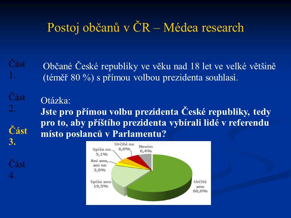 Postoj občanů v ČR – Médea research Část 1. Část 2.