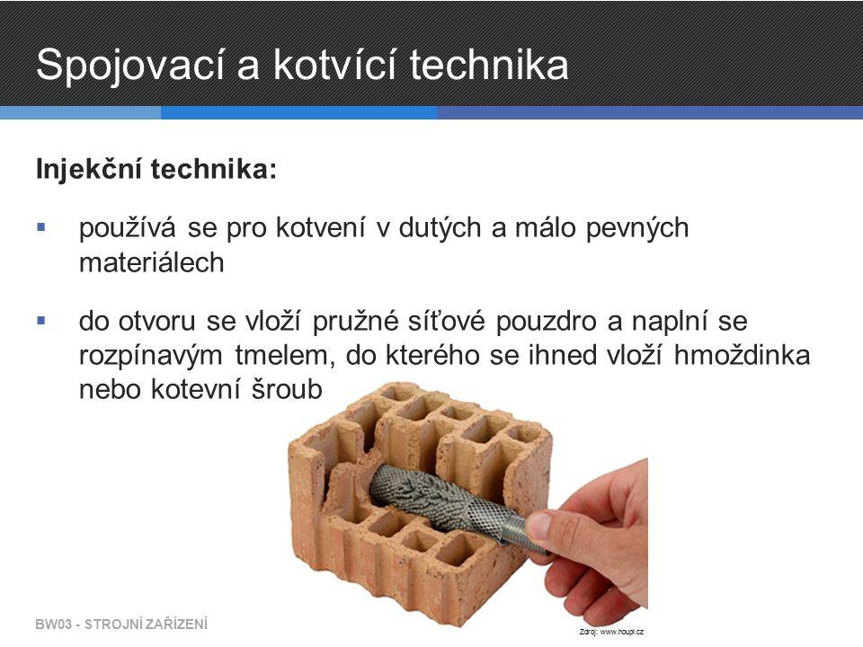Spojovací a kotvící technika Injekční technika:  používá se pro kotvení v dutých a málo pevných materiálech  do otvoru se vloží pružné síťové pouzdro a naplní se rozpínavým tmelem, do kterého se ihned vloží hmoždinka nebo kotevní šroub BW03 - STROJNÍ ZAŘÍZENÍ Zdroj: www.houpi.cz