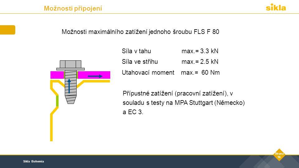 Sikla Bohemia Strana 16 Možnosti maximálního zatížení jednoho šroubu FLS F 80 Přípustné zatížení (pracovní zatížení), v souladu s testy na MPA Stuttgart (Německo) a EC 3.
