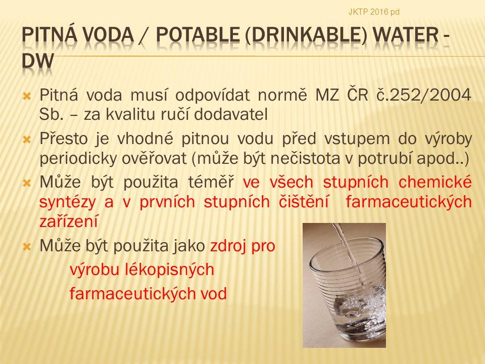  Pitná voda musí odpovídat normě MZ ČR č.252/2004 Sb.