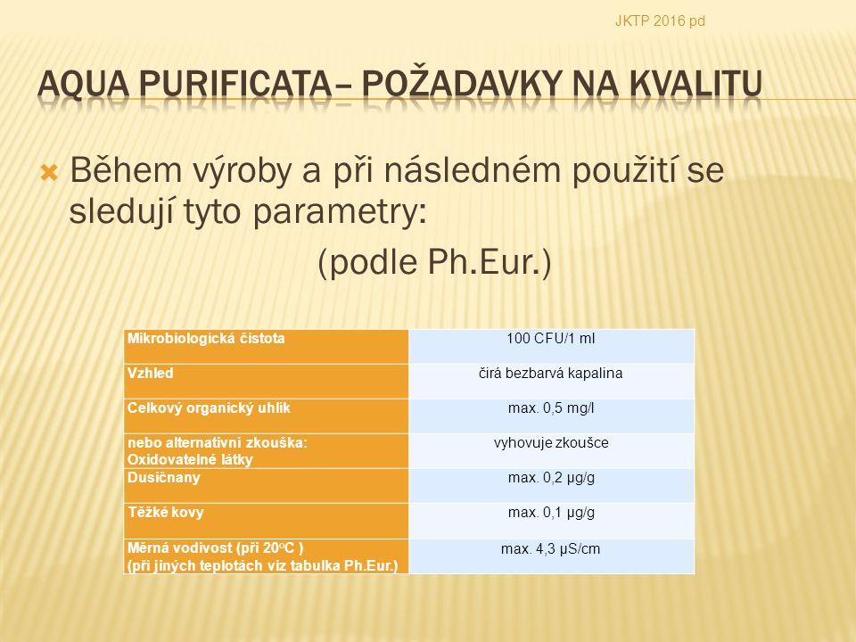 Během výroby a při následném použití se sledují tyto parametry: (podle Ph.Eur.) JKTP 2016 pd Mikrobiologická čistota100 CFU/1 ml Vzhledčirá bezbarvá kapalina Celkový organický uhlíkmax.