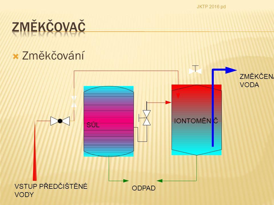  Změkčování ODPAD VSTUP PŘEDČIŠTĚNÉ VODY ZMĚKČENÁ VODA JKTP 2016 pd