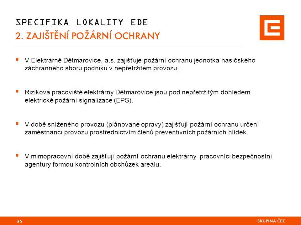 SPECIFIKA LOKALITY EDE 2. ZAJIŠTĚNÍ POŽÁRNÍ OCHRANY  V Elektrárně Dětmarovice, a.s.