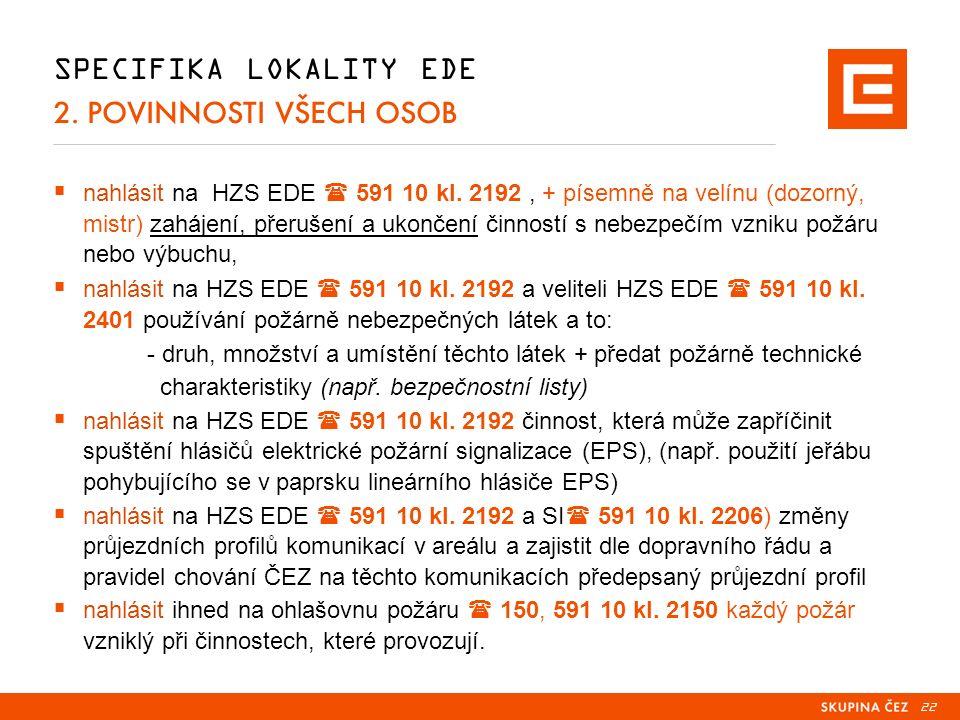 22 SPECIFIKA LOKALITY EDE 2. POVINNOSTI VŠECH OSOB  nahlásit na HZS EDE  591 10 kl.