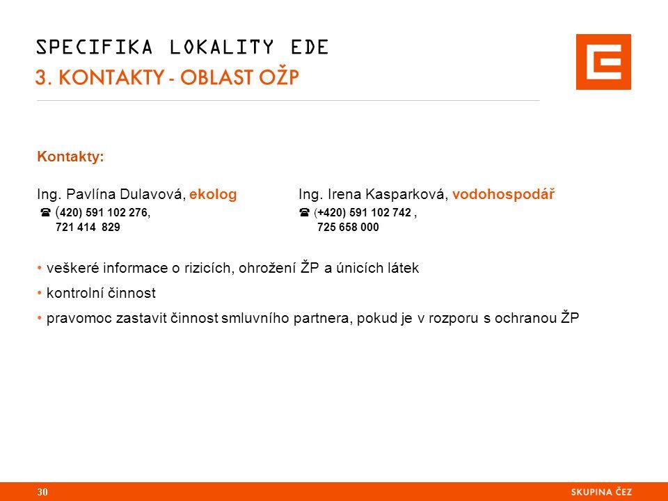 SPECIFIKA LOKALITY EDE 3. KONTAKTY - OBLAST OŽP Kontakty: Ing.