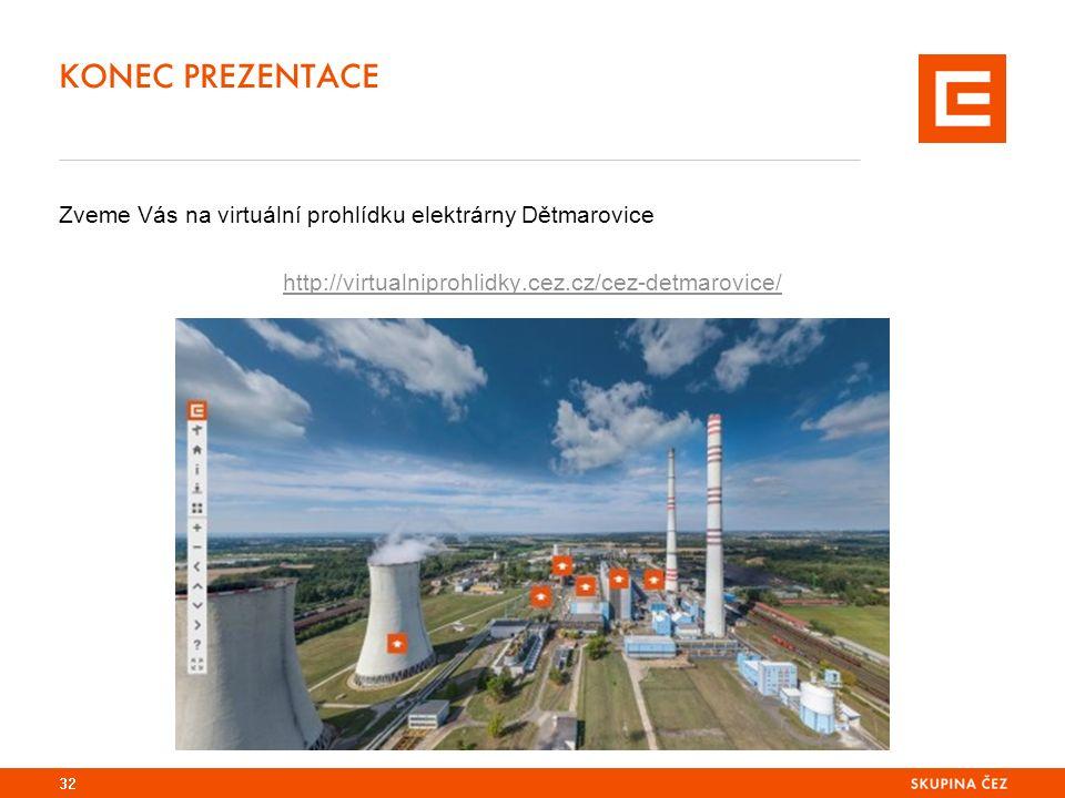 KONEC PREZENTACE 32 Zveme Vás na virtuální prohlídku elektrárny Dětmarovice http://virtualniprohlidky.cez.cz/cez-detmarovice/