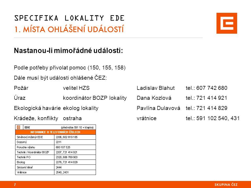 SPECIFIKA LOKALITY EDE 1.