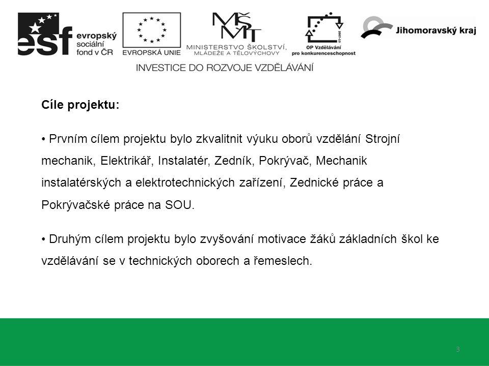 3 Cíle projektu: Prvním cílem projektu bylo zkvalitnit výuku oborů vzdělání Strojní mechanik, Elektrikář, Instalatér, Zedník, Pokrývač, Mechanik instalatérských a elektrotechnických zařízení, Zednické práce a Pokrývačské práce na SOU.