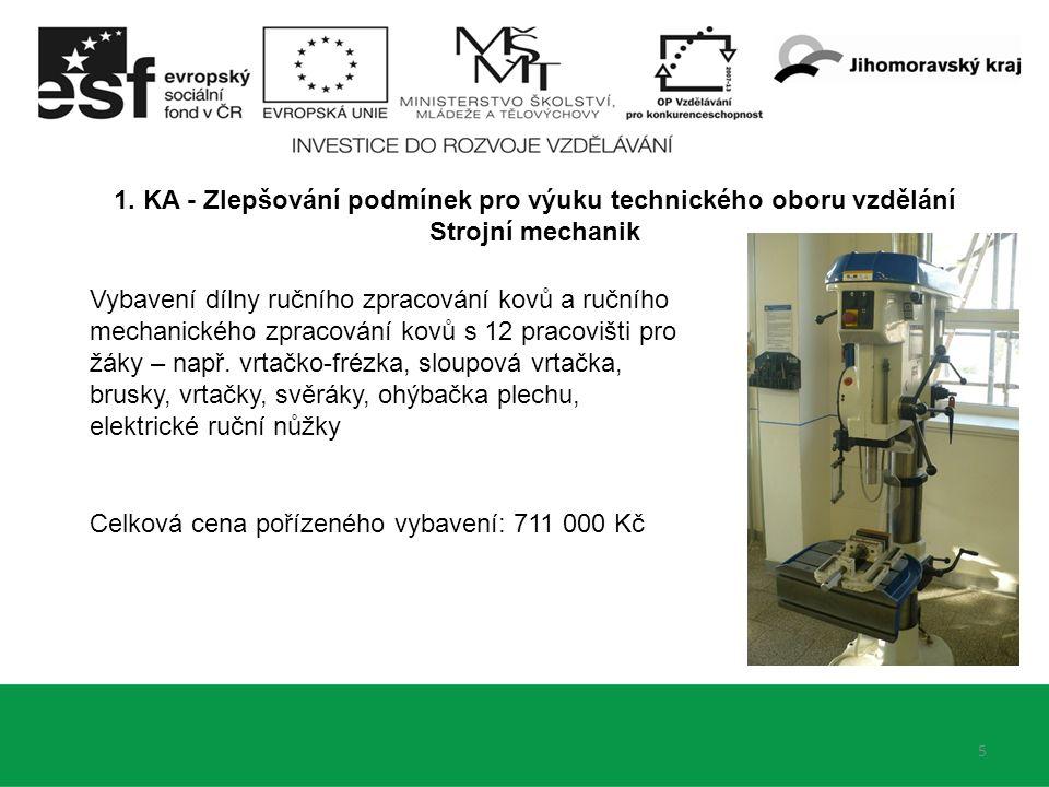 5 1. KA - Zlepšování podmínek pro výuku technického oboru vzdělání Strojní mechanik Vybavení dílny ručního zpracování kovů a ručního mechanického zpra