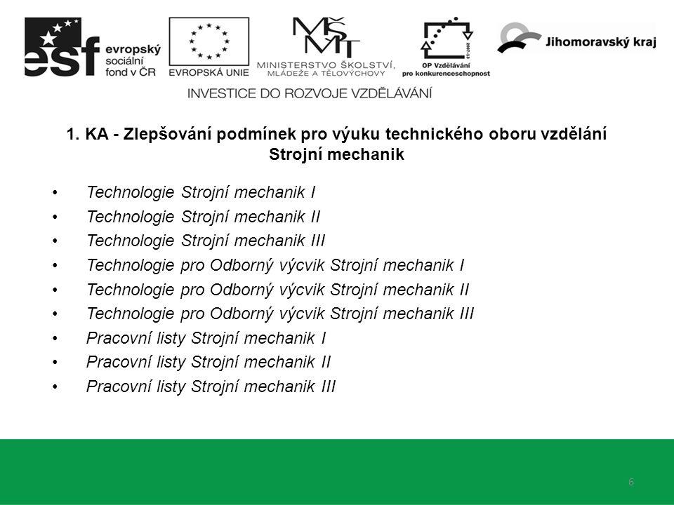 6 1. KA - Zlepšování podmínek pro výuku technického oboru vzdělání Strojní mechanik Technologie Strojní mechanik I Technologie Strojní mechanik II Tec