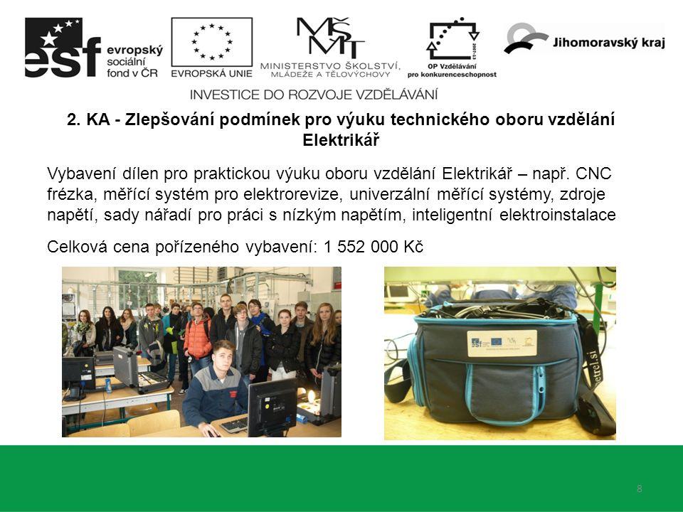8 2. KA - Zlepšování podmínek pro výuku technického oboru vzdělání Elektrikář Vybavení dílen pro praktickou výuku oboru vzdělání Elektrikář – např. CN
