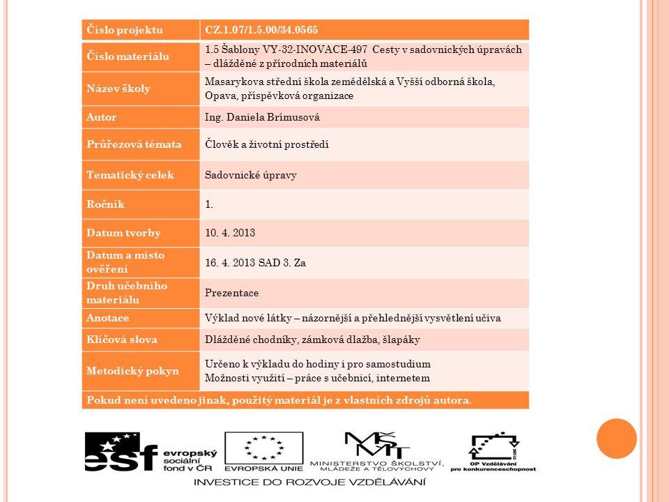 Číslo projektuCZ.1.07/1.5.00/34.0565 Číslo materiálu 1.5 Šablony VY-32-INOVACE-497 Cesty v sadovnických úpravách – dlážděné z přírodních materiálů Náz