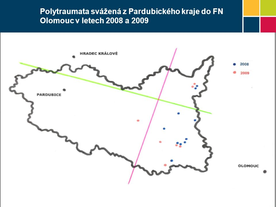 Polytraumata svážená z Pardubického kraje do FN Olomouc v letech 2008 a 2009