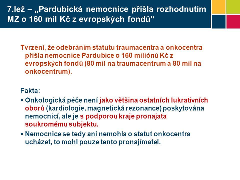 """7.lež – """"Pardubická nemocnice přišla rozhodnutím MZ o 160 mil Kč z evropských fondů Tvrzení, že odebráním statutu traumacentra a onkocentra přišla nemocnice Pardubice o 160 miliónů Kč z evropských fondů (80 mil na traumacentrum a 80 mil na onkocentrum)."""