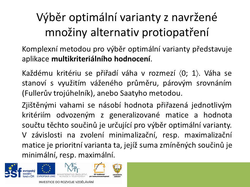 Výběr optimální varianty z navržené množiny alternativ protiopatření Komplexní metodou pro výběr optimální varianty představuje aplikace multikriteriálního hodnocení.