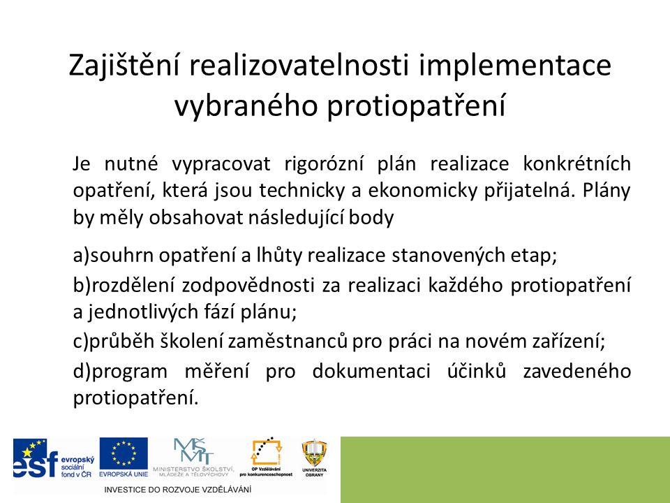 Zajištění realizovatelnosti implementace vybraného protiopatření Je nutné vypracovat rigorózní plán realizace konkrétních opatření, která jsou technicky a ekonomicky přijatelná.