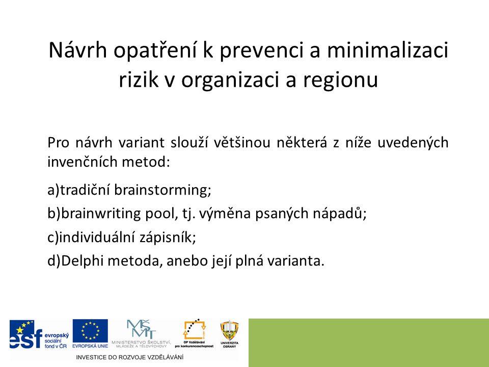 Návrh opatření k prevenci a minimalizaci rizik v organizaci a regionu Pro návrh variant slouží většinou některá z níže uvedených invenčních metod: a)tradiční brainstorming; b)brainwriting pool, tj.