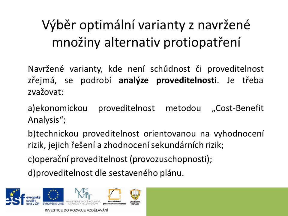 Výběr optimální varianty z navržené množiny alternativ protiopatření Navržené varianty, kde není schůdnost či proveditelnost zřejmá, se podrobí analýze proveditelnosti.