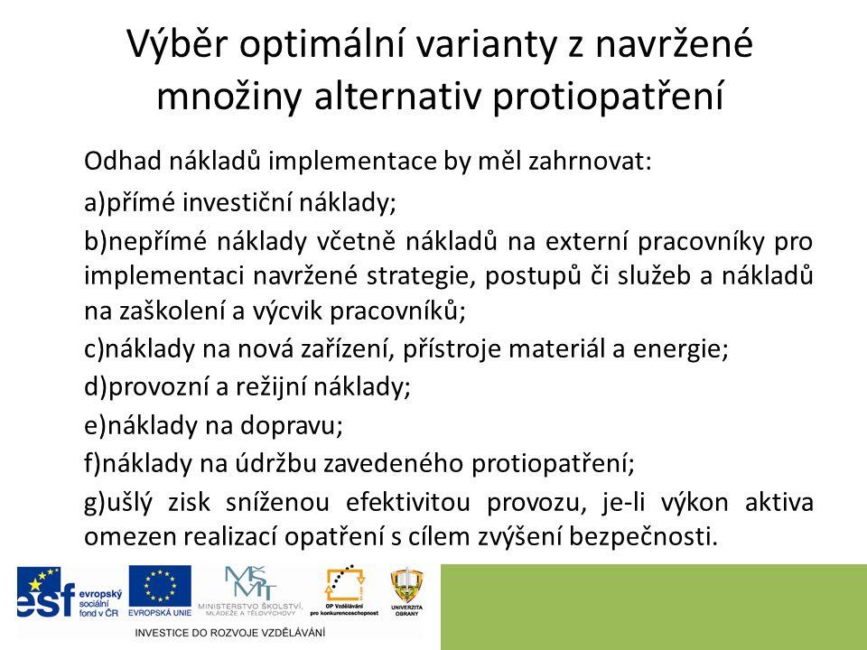 Závěr Prevence a minimalizace rizik v organizaci, anebo regionu, vyžaduje v prvním kroku návrh množiny alternativ opatření, s využitím ponejvíce invenčních metod.