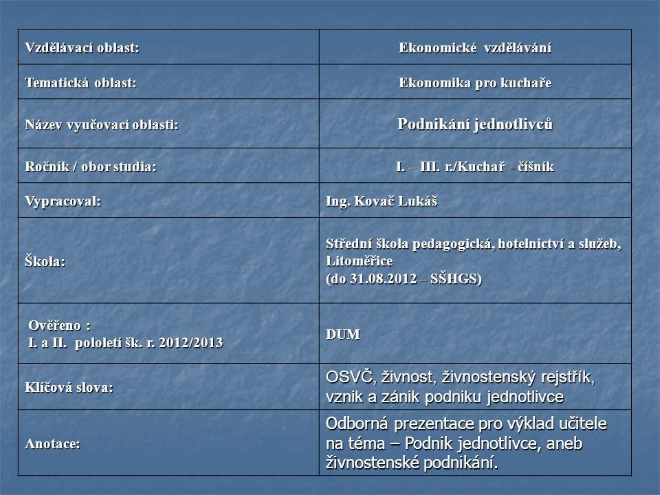 Vzdělávací oblast: Ekonomické vzdělávání Tematická oblast: Ekonomika pro kuchaře Název vyučovací oblasti: Podnikání jednotlivců Ročník / obor studia: I.