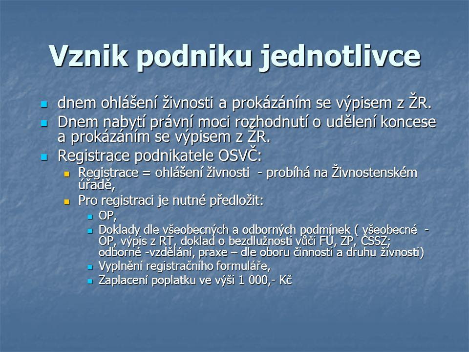 Vznik podniku jednotlivce dnem ohlášení živnosti a prokázáním se výpisem z ŽR.