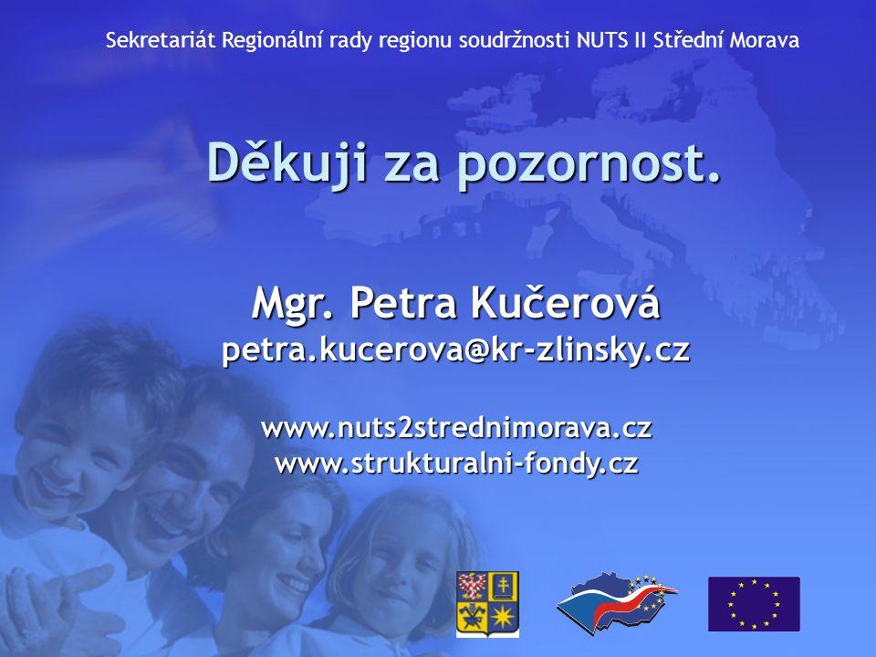 Děkuji za pozornost. Mgr. Petra Kučerová petra.kucerova@kr-zlinsky.czwww.nuts2strednimorava.czwww.strukturalni-fondy.cz Sekretariát Regionální rady re