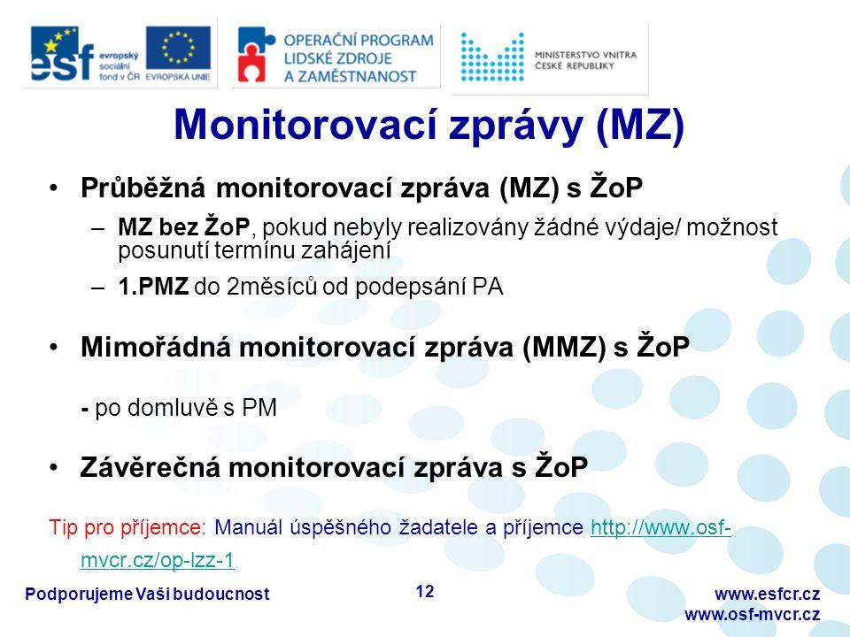 Monitorovací zprávy (MZ) Průběžná monitorovací zpráva (MZ) s ŽoP –MZ bez ŽoP, pokud nebyly realizovány žádné výdaje/ možnost posunutí termínu zahájení –1.PMZ do 2měsíců od podepsání PA Mimořádná monitorovací zpráva (MMZ) s ŽoP - po domluvě s PM Závěrečná monitorovací zpráva s ŽoP Tip pro příjemce: Manuál úspěšného žadatele a příjemce http://www.osf- mvcr.cz/op-lzz-1http://www.osf- mvcr.cz/op-lzz-1 Podporujeme Vaši budoucnostwww.esfcr.cz www.osf-mvcr.cz 12