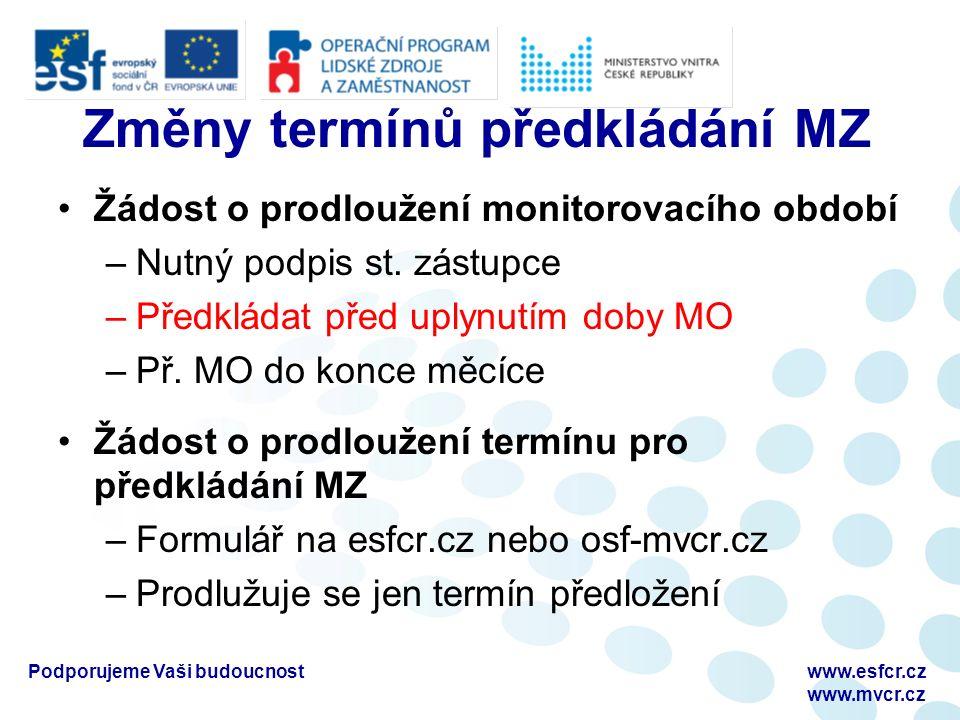Změny termínů předkládání MZ Žádost o prodloužení monitorovacího období –Nutný podpis st.