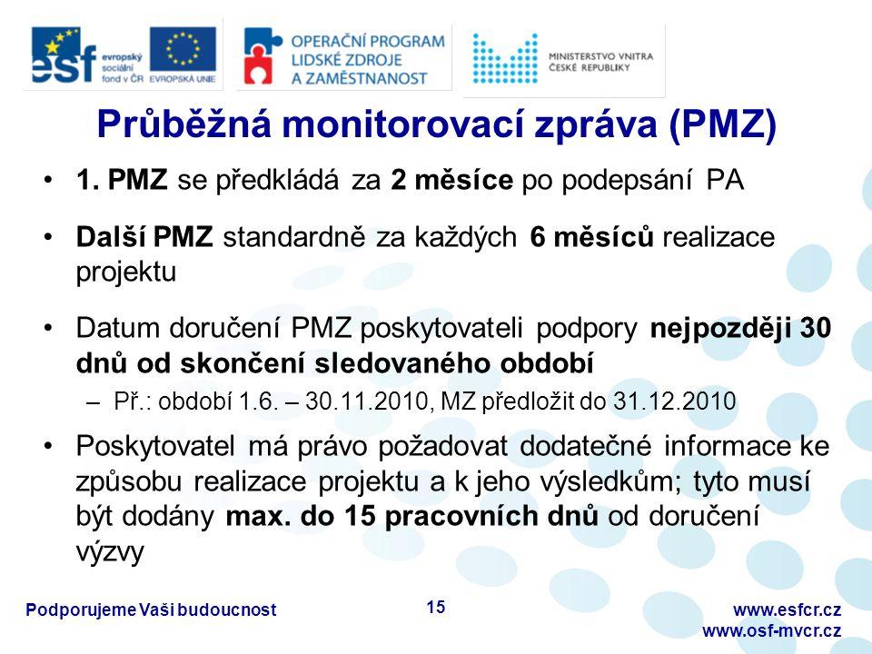 Průběžná monitorovací zpráva (PMZ) 1. PMZ se předkládá za 2 měsíce po podepsání PA Další PMZ standardně za každých 6 měsíců realizace projektu Datum d