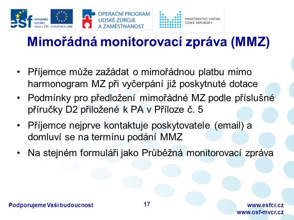 Mimořádná monitorovací zpráva (MMZ) Příjemce může zažádat o mimořádnou platbu mimo harmonogram MZ při vyčerpání již poskytnuté dotace Podmínky pro předložení mimořádné MZ podle příslušné příručky D2 přiložené k PA v Příloze č.