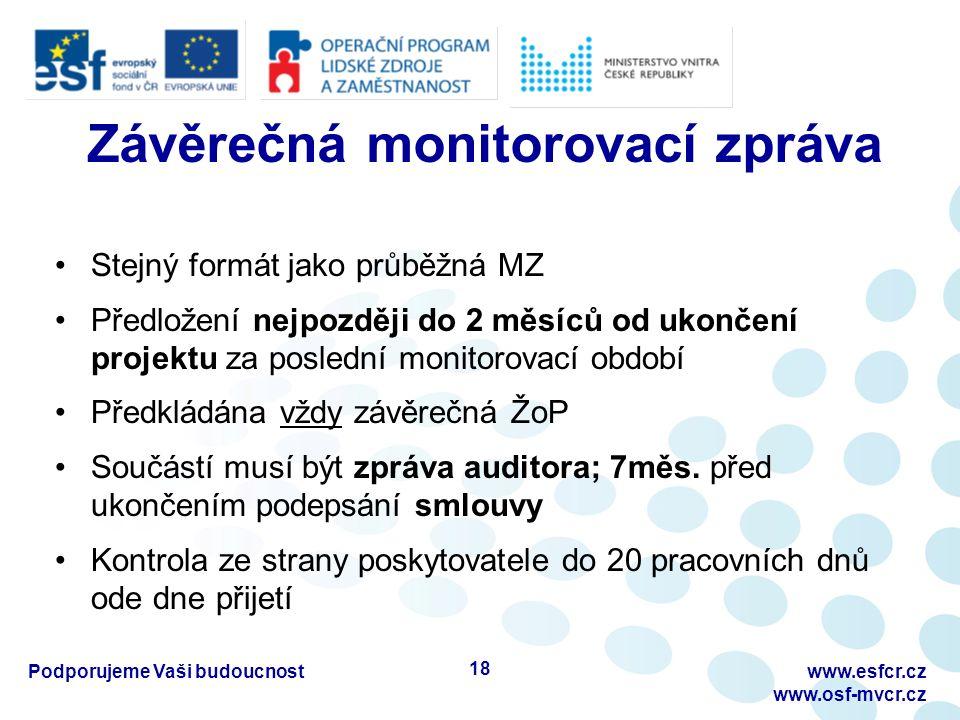 Závěrečná monitorovací zpráva Stejný formát jako průběžná MZ Předložení nejpozději do 2 měsíců od ukončení projektu za poslední monitorovací období Předkládána vždy závěrečná ŽoP Součástí musí být zpráva auditora; 7měs.