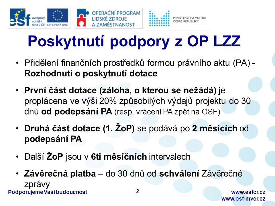 www.esfcr.cz www.osf-mvcr.cz Poskytnutí podpory z OP LZZ Přidělení finančních prostředků formou právního aktu (PA) - Rozhodnutí o poskytnutí dotace První část dotace (záloha, o kterou se nežádá) je proplácena ve výši 20% způsobilých výdajů projektu do 30 dnů od podepsání PA (resp.